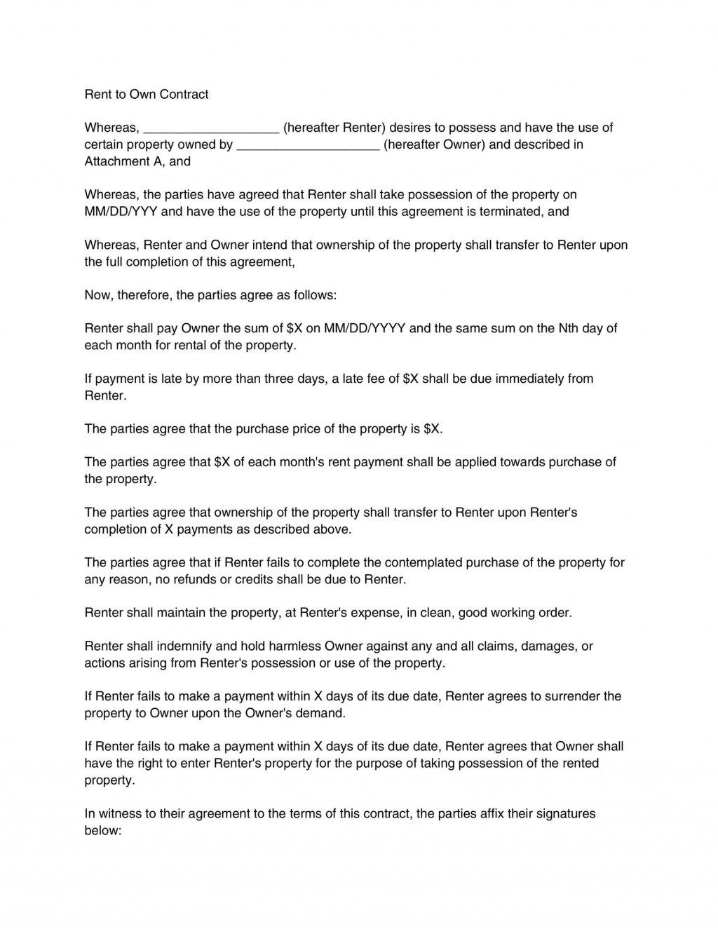000 Staggering Rent To Own Contract Template Pennsylvania Sample Full