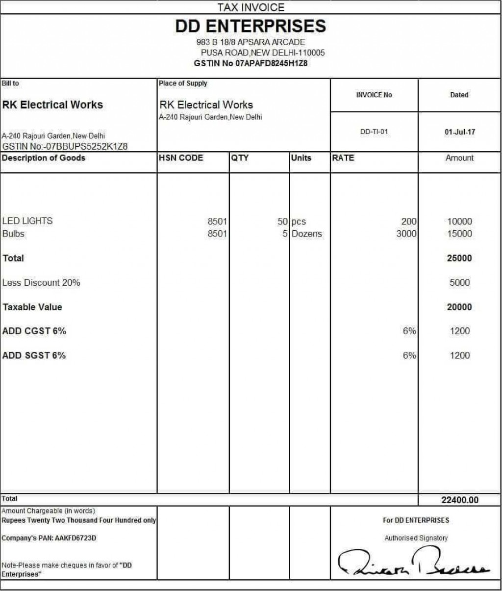 000 Staggering Sample Tax Invoice Excel Download Image Large