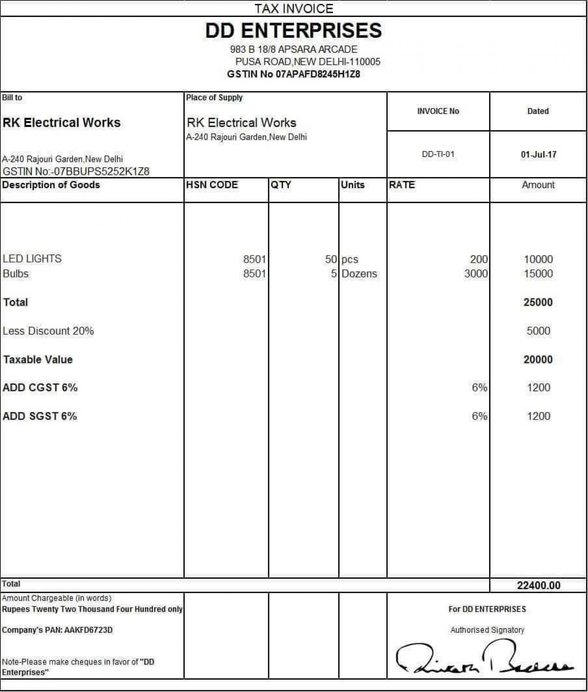 000 Staggering Sample Tax Invoice Excel Download Image 1920
