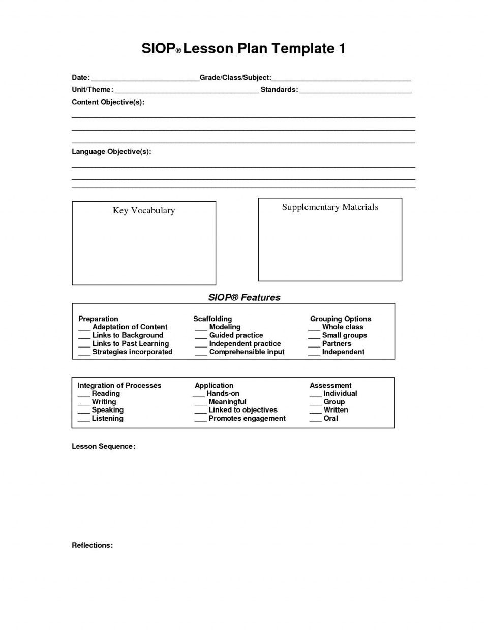 000 Staggering Siop Lesson Plan Template 1 Image  Example First Grade Word Document 1st960