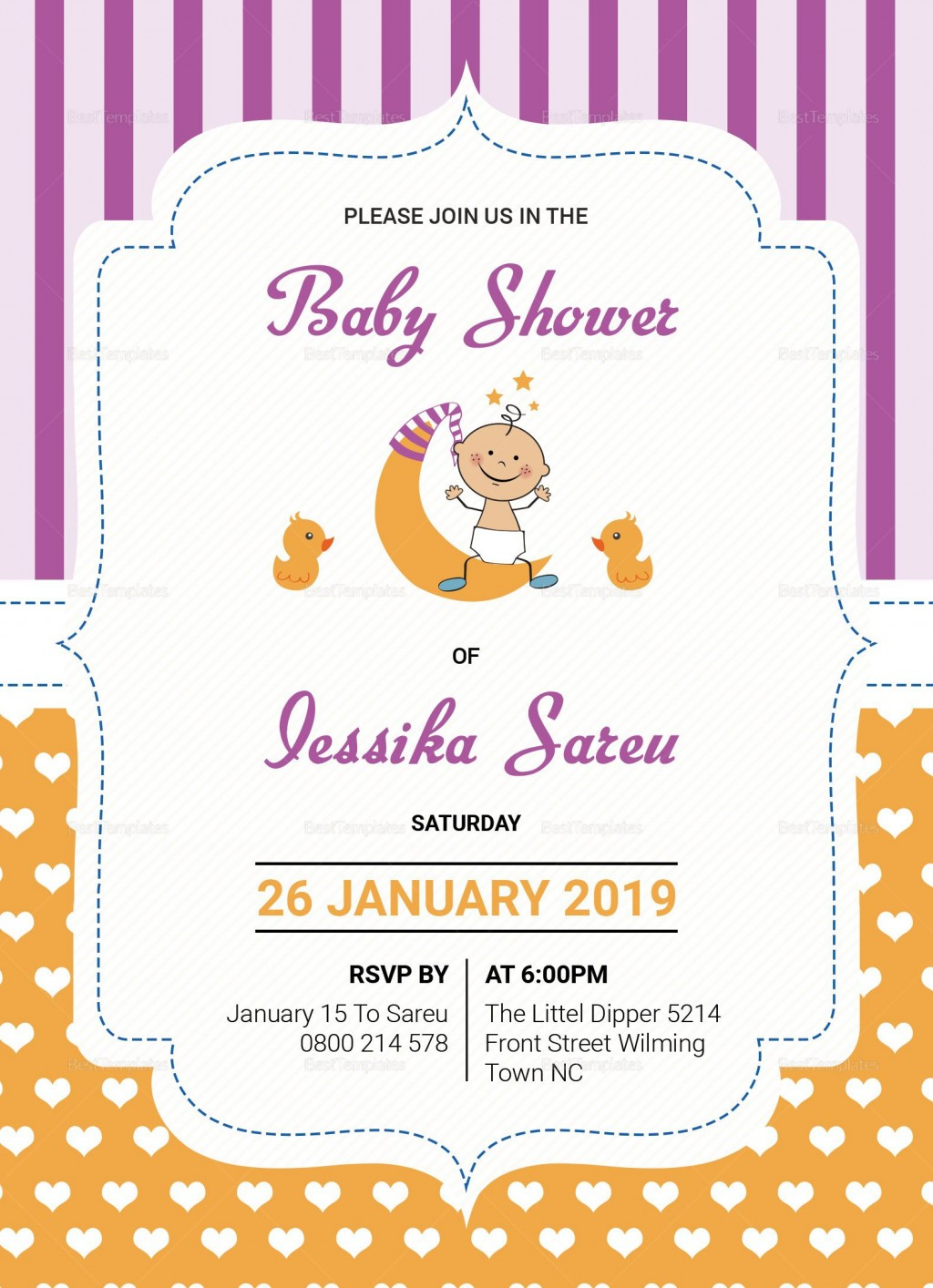 000 Stirring Baby Shower Card Template Psd Sample Large
