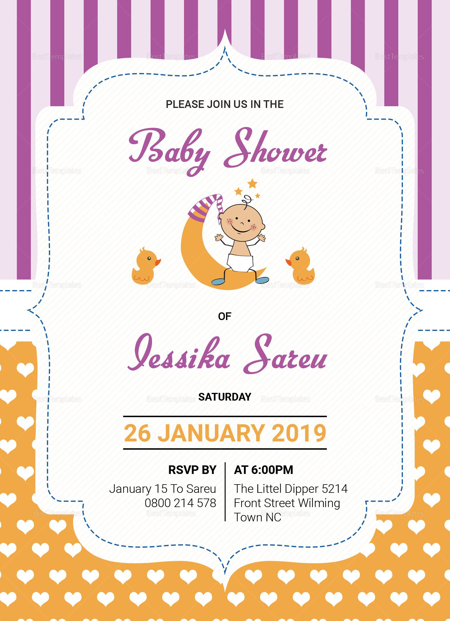 000 Stirring Baby Shower Card Template Psd Sample Full
