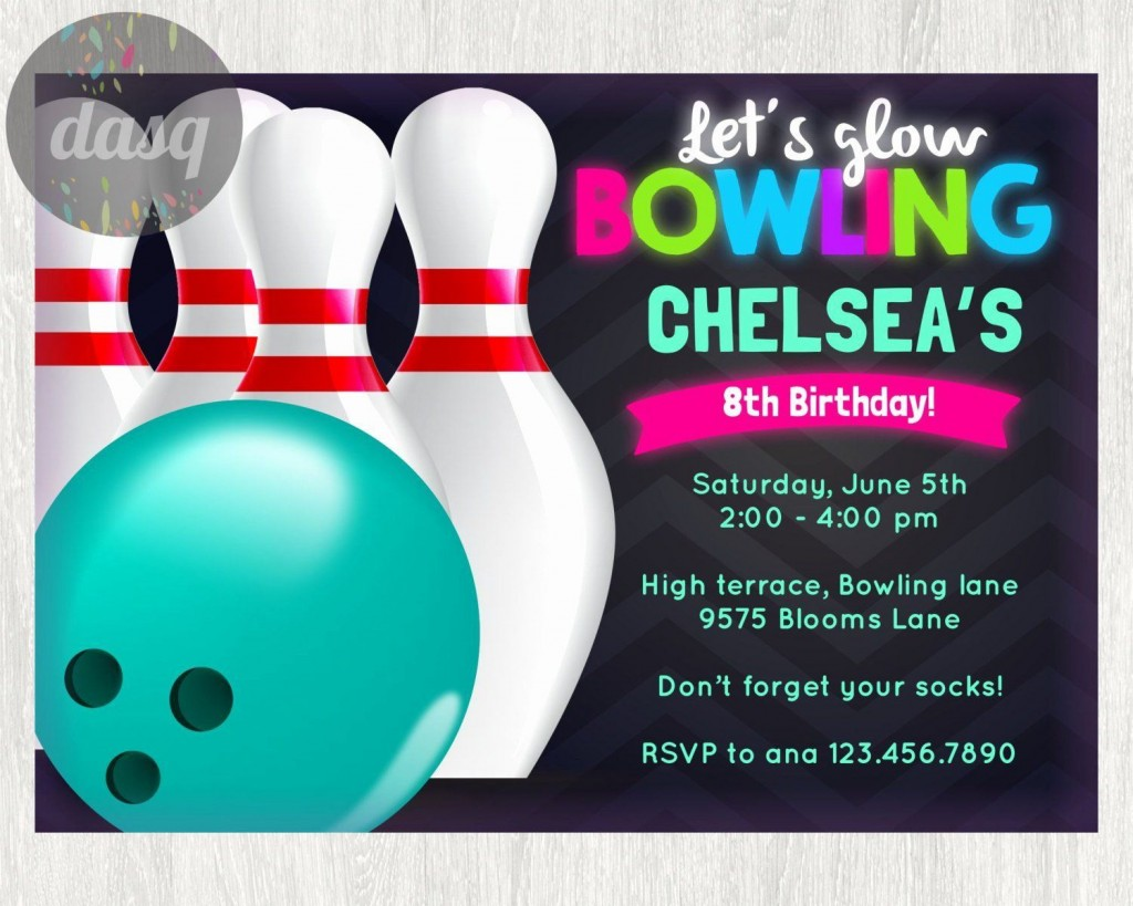 000 Stirring Bowling Party Invite Printable Free High Def  Birthday Invitation GirlLarge