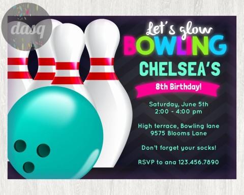 000 Stirring Bowling Party Invite Printable Free High Def  Birthday Invitation480