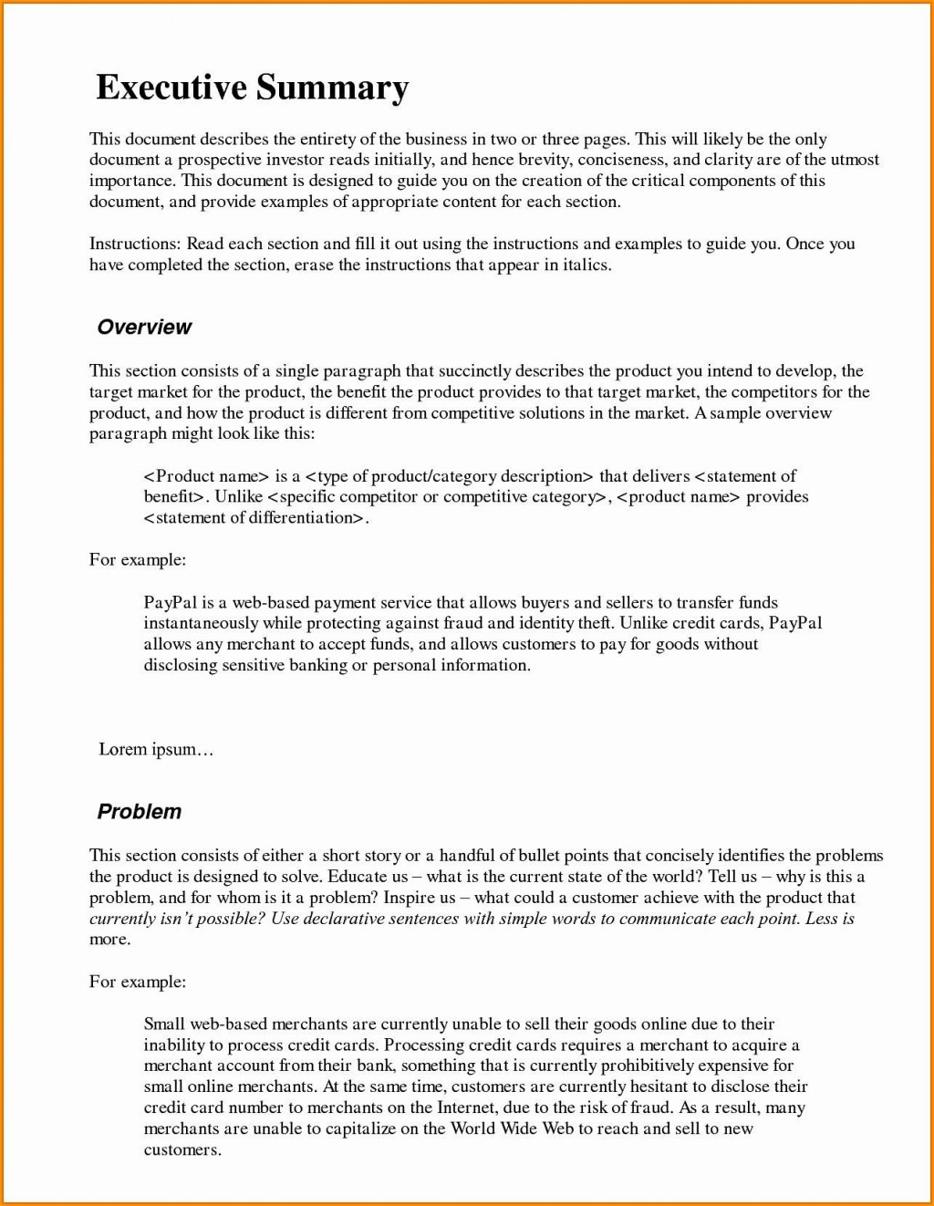 000 Stirring Executive Summary Template Word Free Sample Large