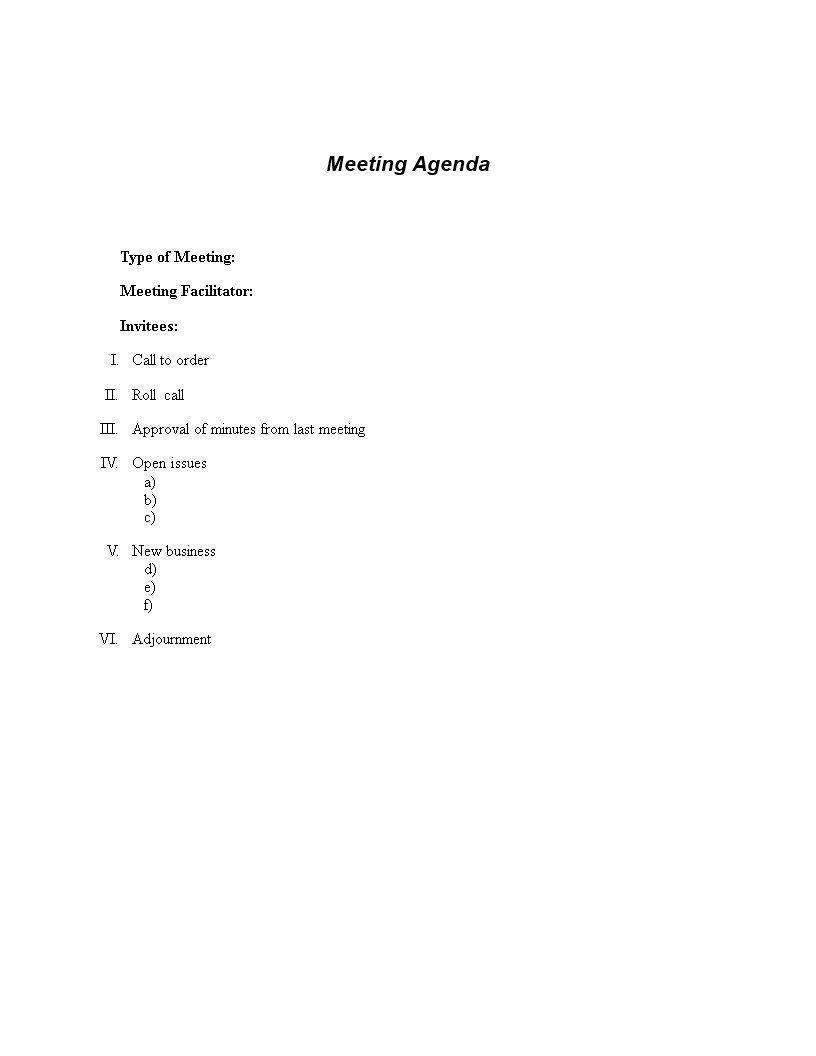 000 Stirring Formal Meeting Agenda Template Image  Board Example PdfFull
