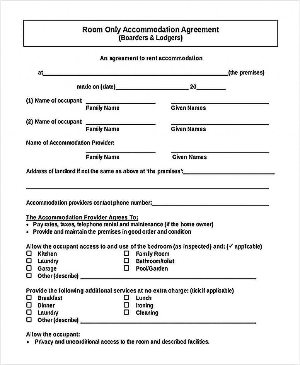 000 Stirring Generic Room Rental Agreement Free Idea  PrintableLarge