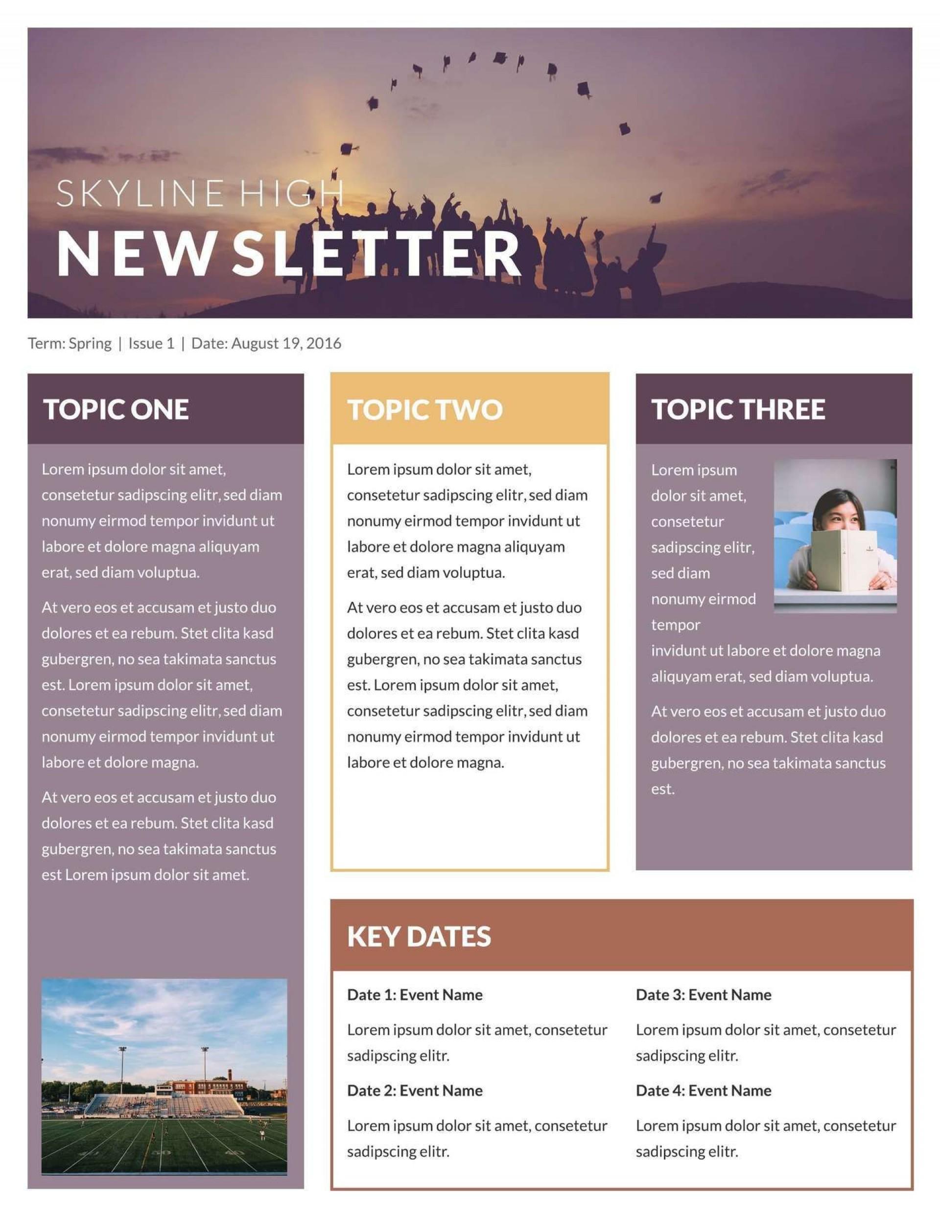 000 Stirring High School Newsletter Template Free Download Photo 1920