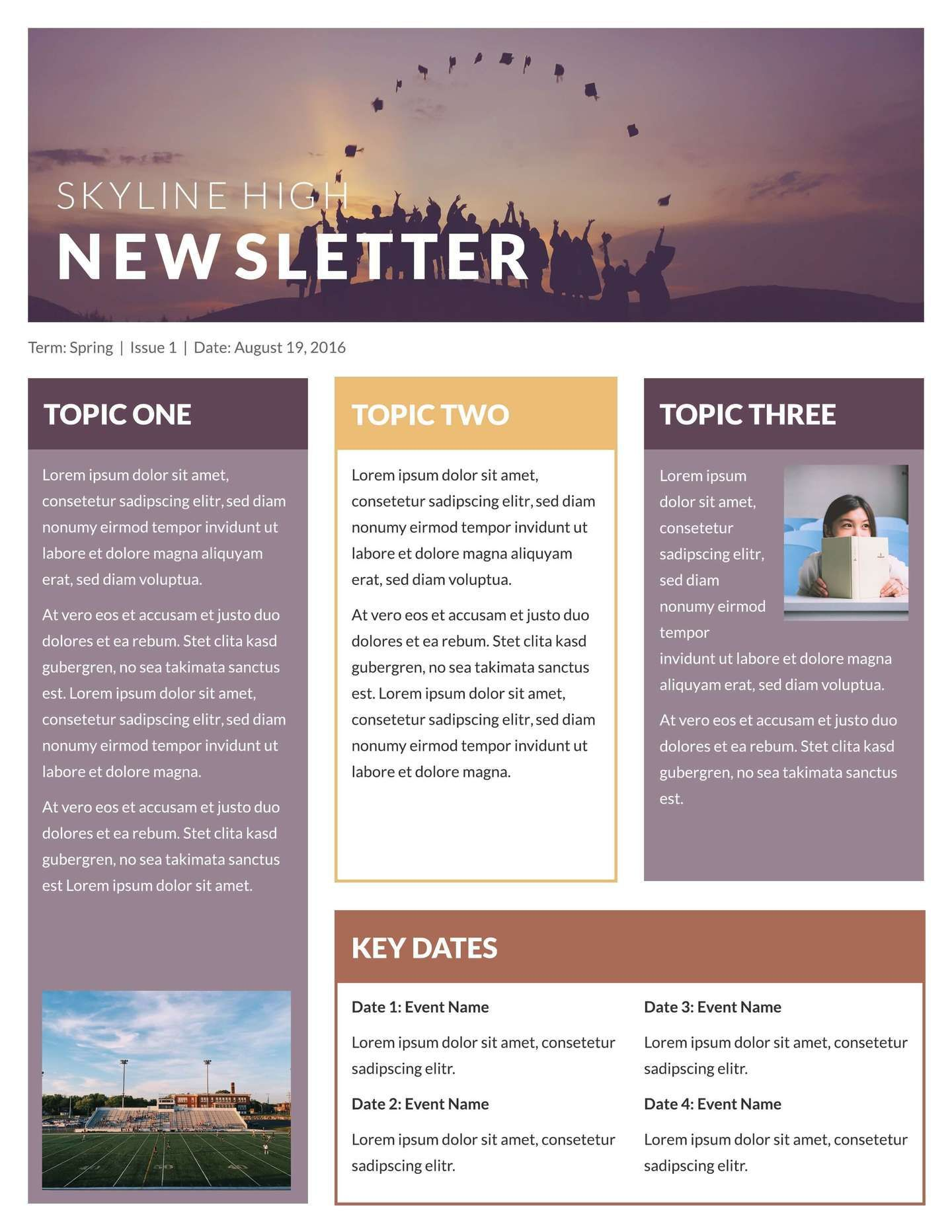 000 Stirring High School Newsletter Template Free Download Photo Full