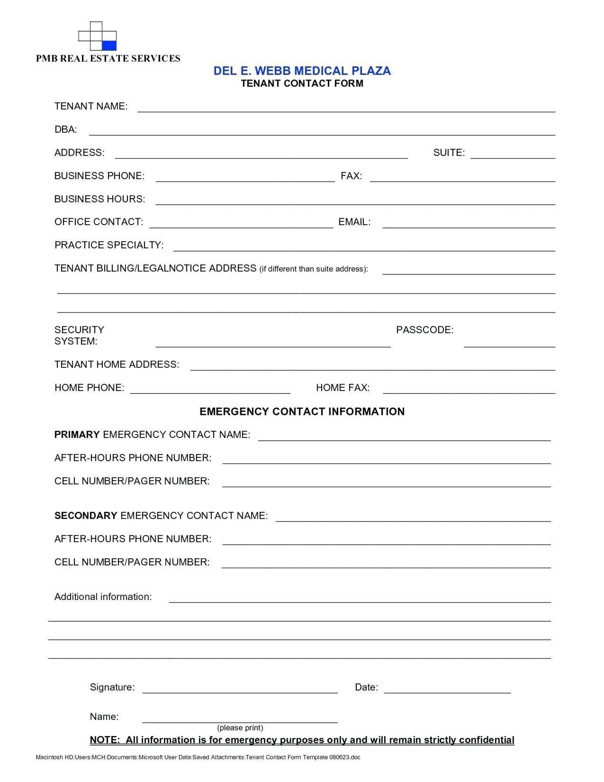 000 Stirring New Busines Client Information Form Template Highest Clarity Full