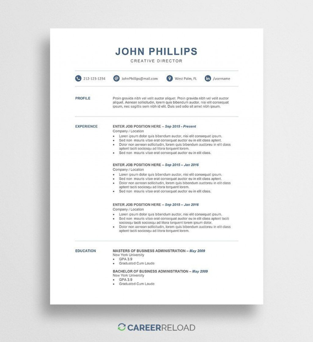 000 Stirring Resume Template Free Word Inspiration  Download 2020 CvLarge