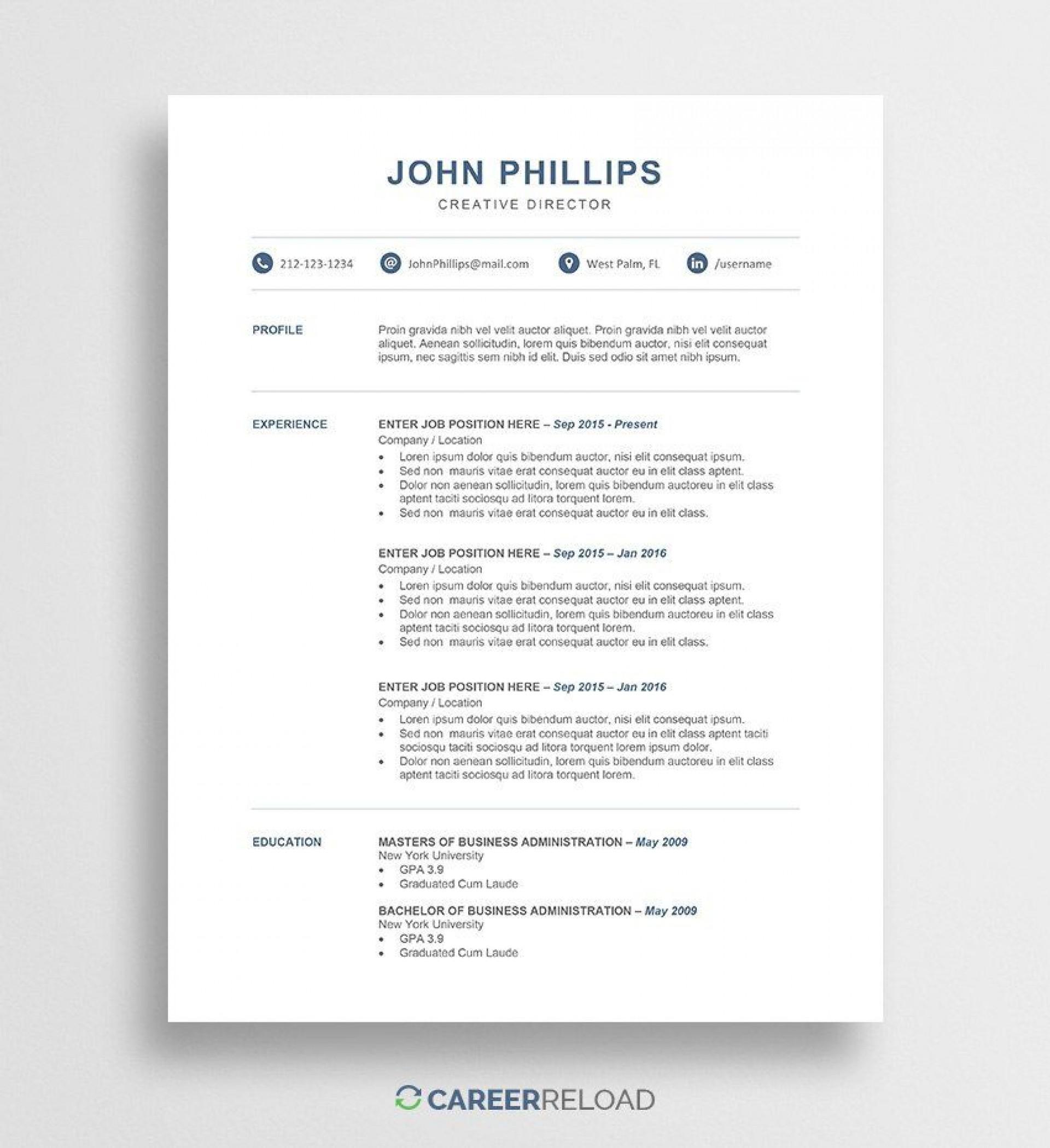 000 Stirring Resume Template Free Word Inspiration  Download 2020 Cv1920