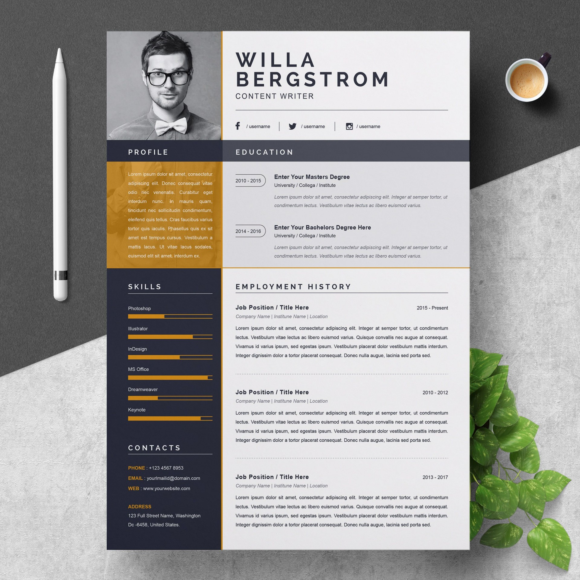 000 Stirring Resume Template Word 2016 Design  Cv Professional1920