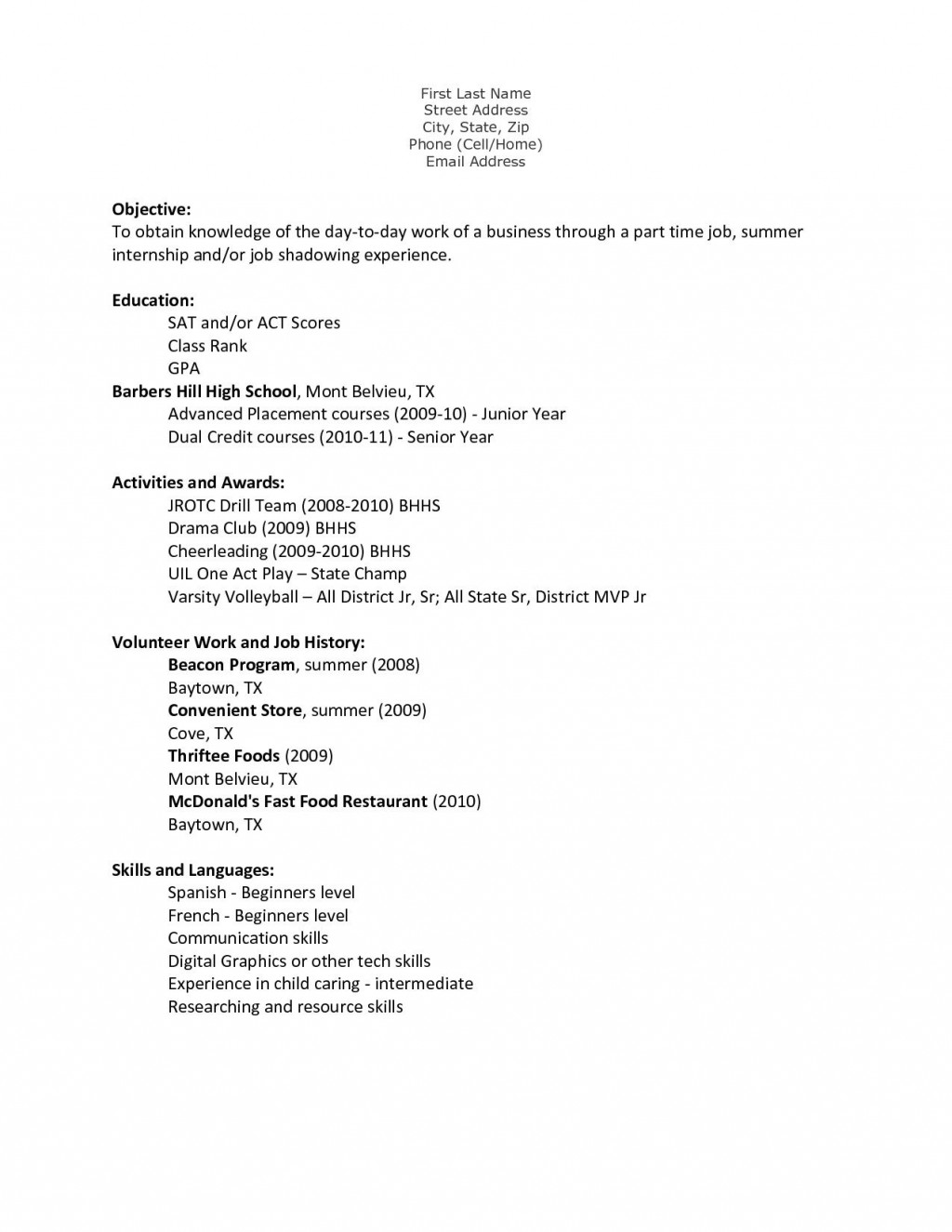 000 Stirring Resume Template For Teen Concept  TeensLarge