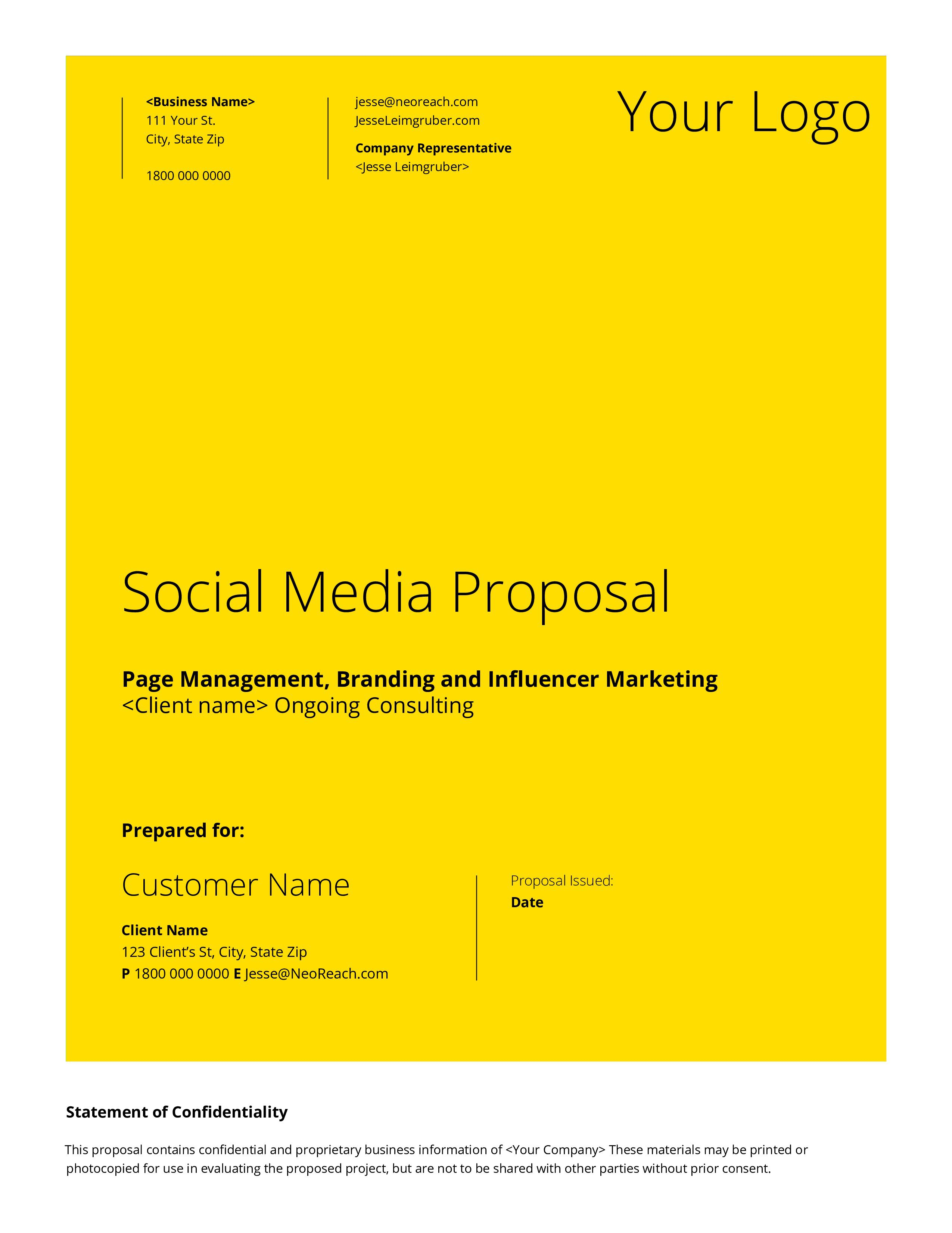 000 Stirring Social Media Proposal Template Example  Ppt Marketing Word 2019Full
