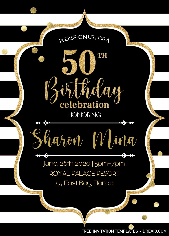 000 Striking 50th Wedding Anniversary Invitation Template Microsoft Word Image  Free1920