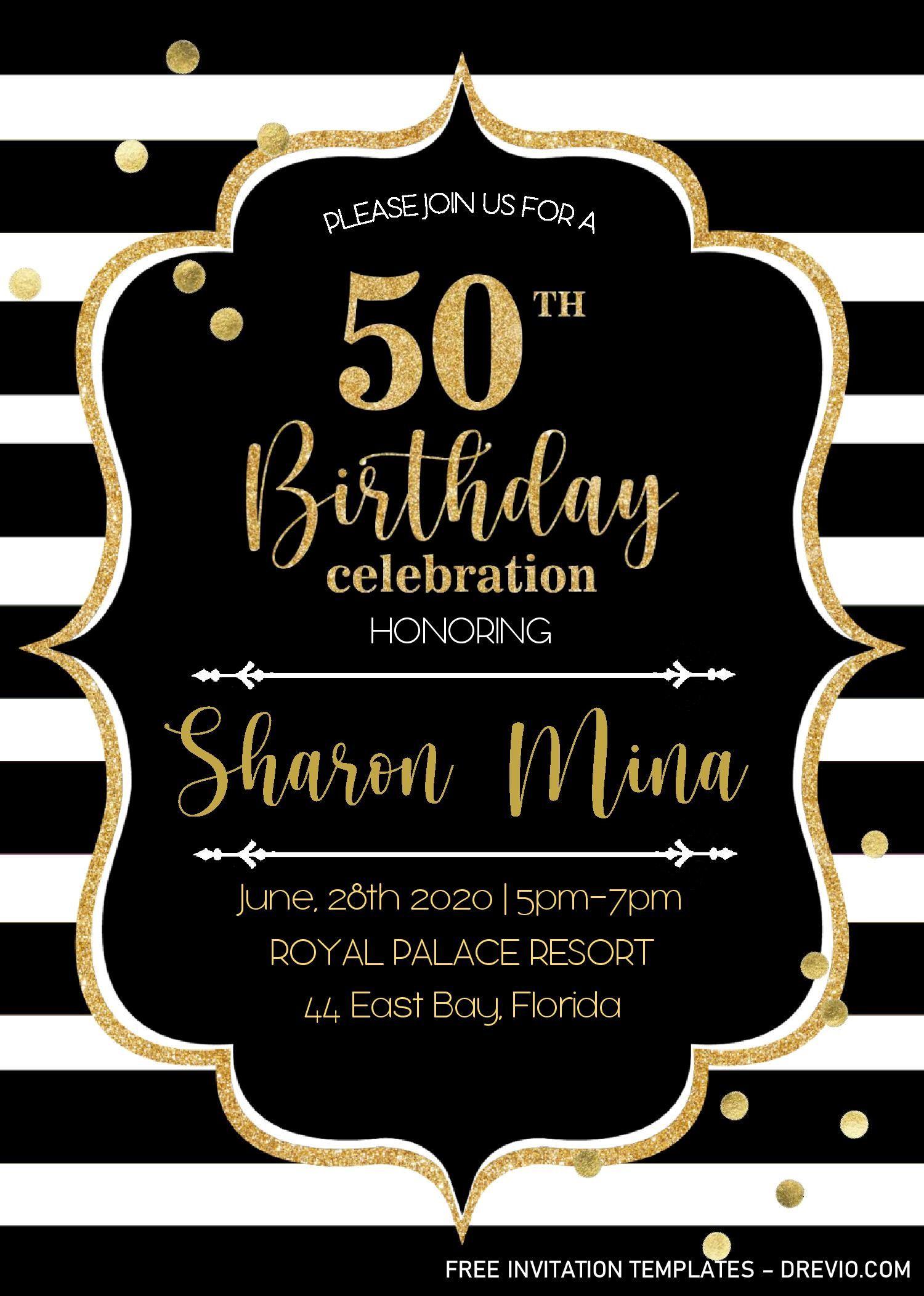 000 Striking 50th Wedding Anniversary Invitation Template Microsoft Word Image  FreeFull