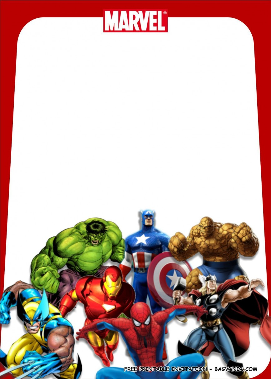 000 Striking Avenger Birthday Party Invitation Template Free Picture  Invite