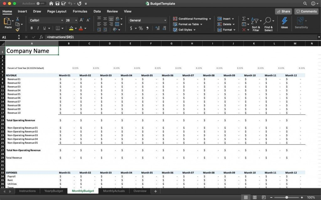 000 Striking Budgeting Template In Excel Image  Training Budget Free Download ProjectLarge