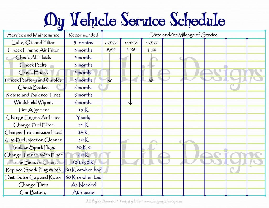 000 Striking Car Maintenance Schedule Template Highest Clarity  Vehicle Preventive Excel LogLarge