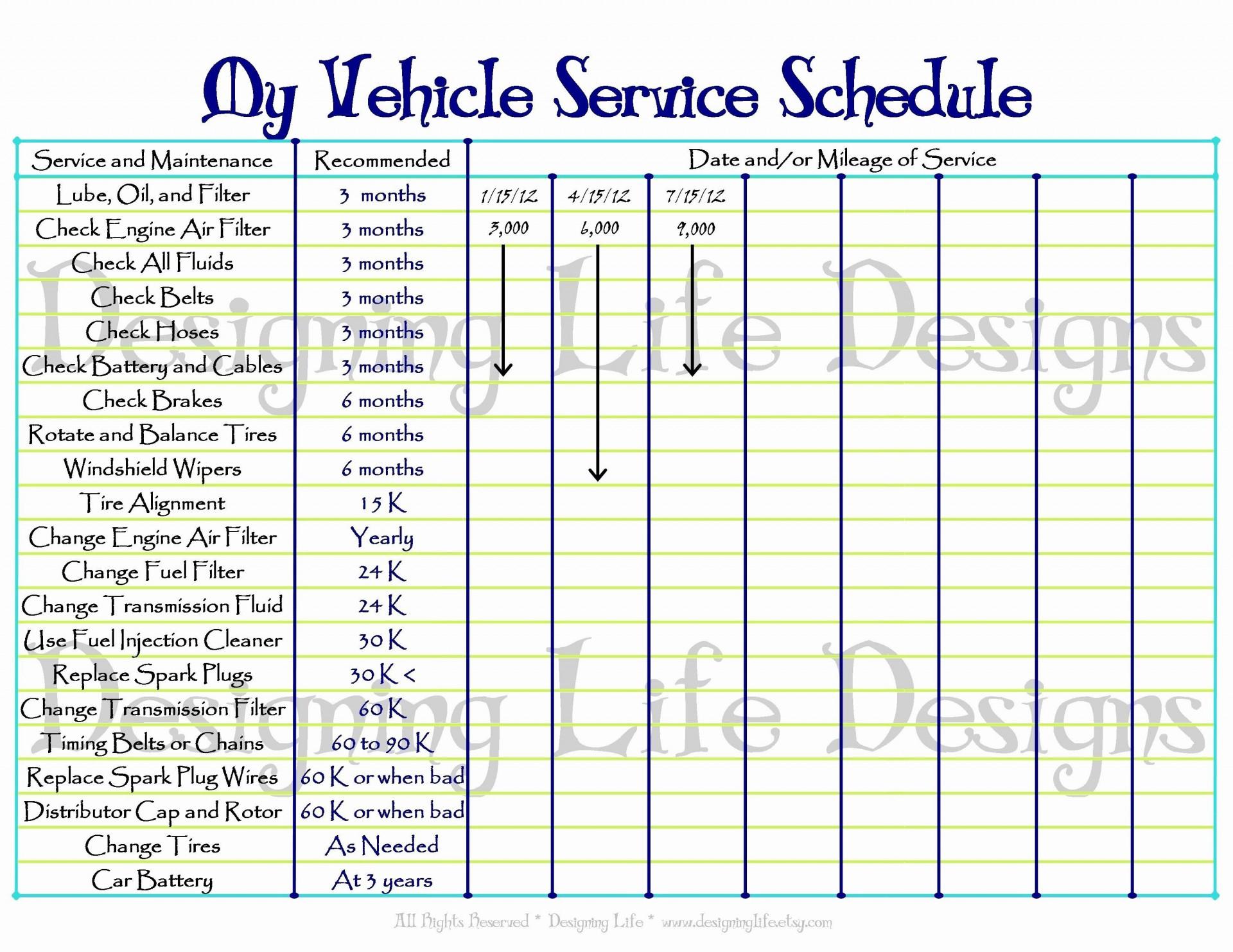 000 Striking Car Maintenance Schedule Template Highest Clarity  Vehicle Preventive Excel Log1920