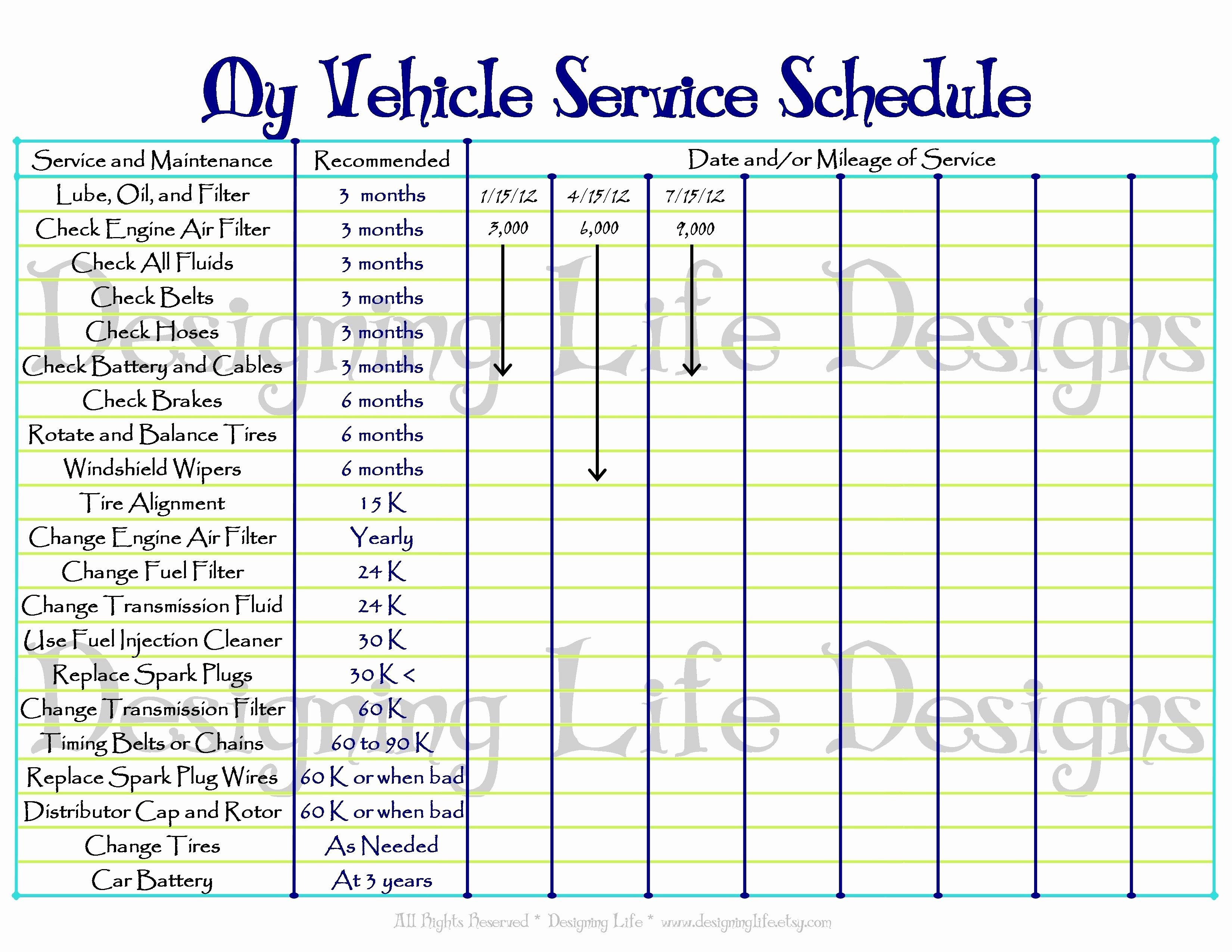 000 Striking Car Maintenance Schedule Template Highest Clarity  Vehicle Preventive Excel LogFull