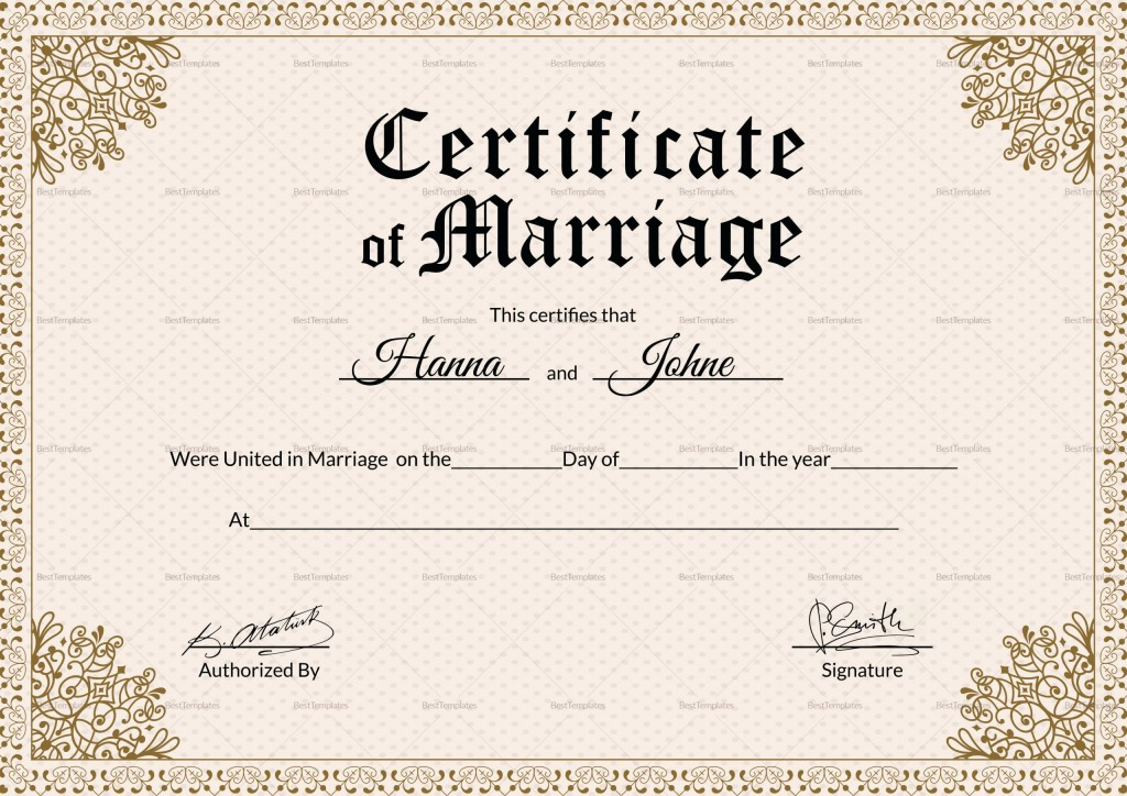 000 Striking Certificate Of Marriage Template High Resolution  Word AustraliaLarge
