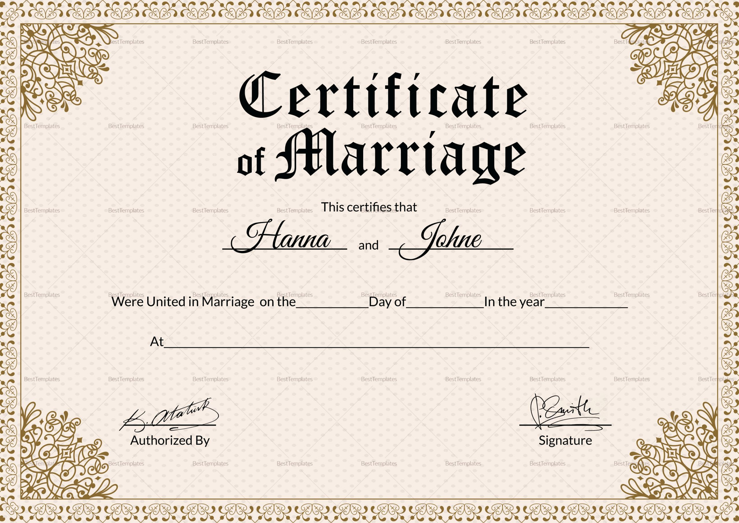 000 Striking Certificate Of Marriage Template High Resolution  Word AustraliaFull