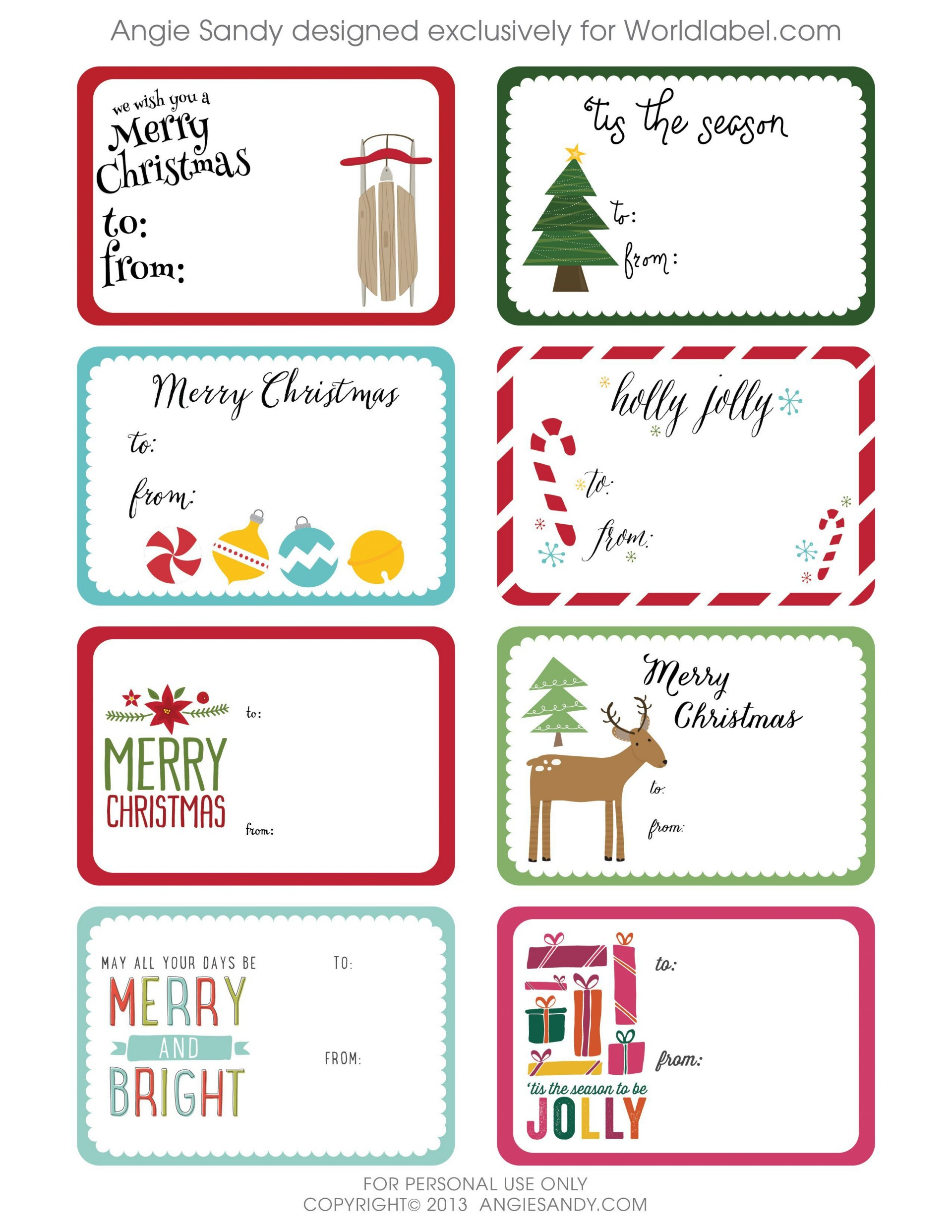000 Striking Christma Label Template Free High Def  Present Gift Tag Editable Mailing1920