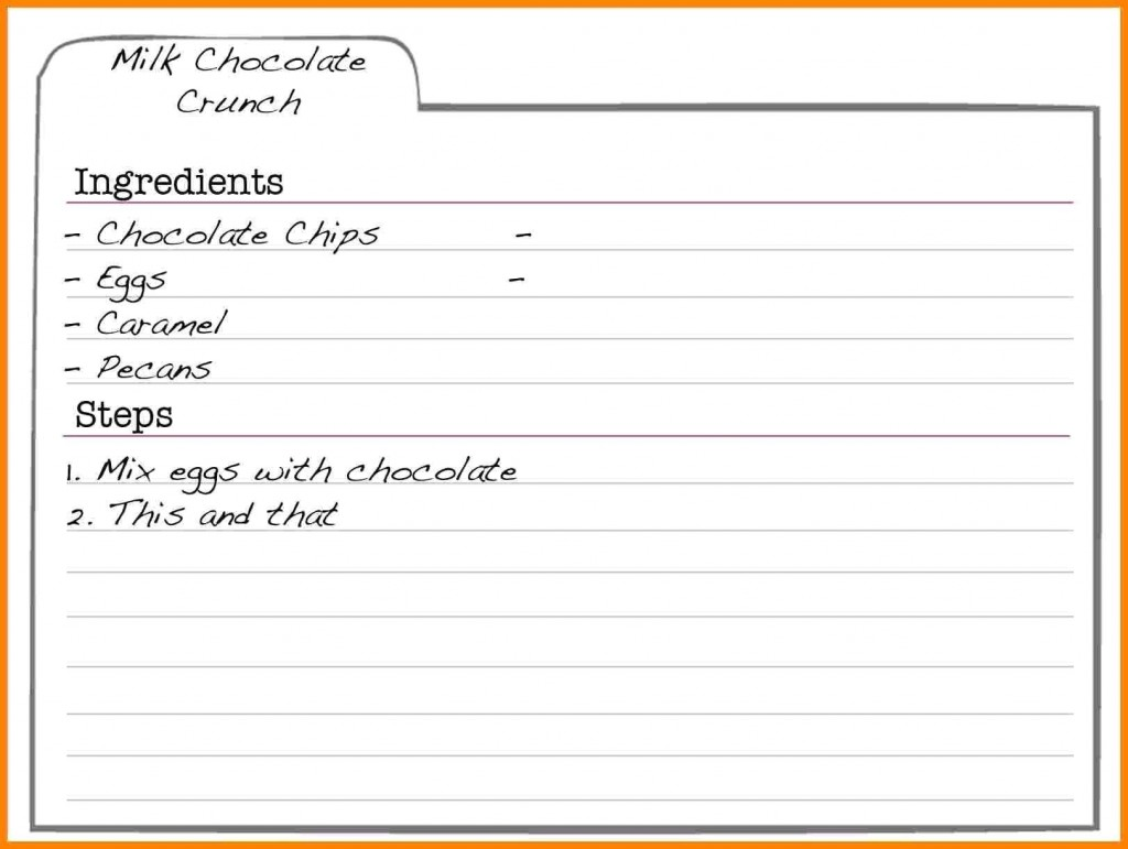 000 Striking Fillable Recipe Card Template High Definition  For Word FreeLarge