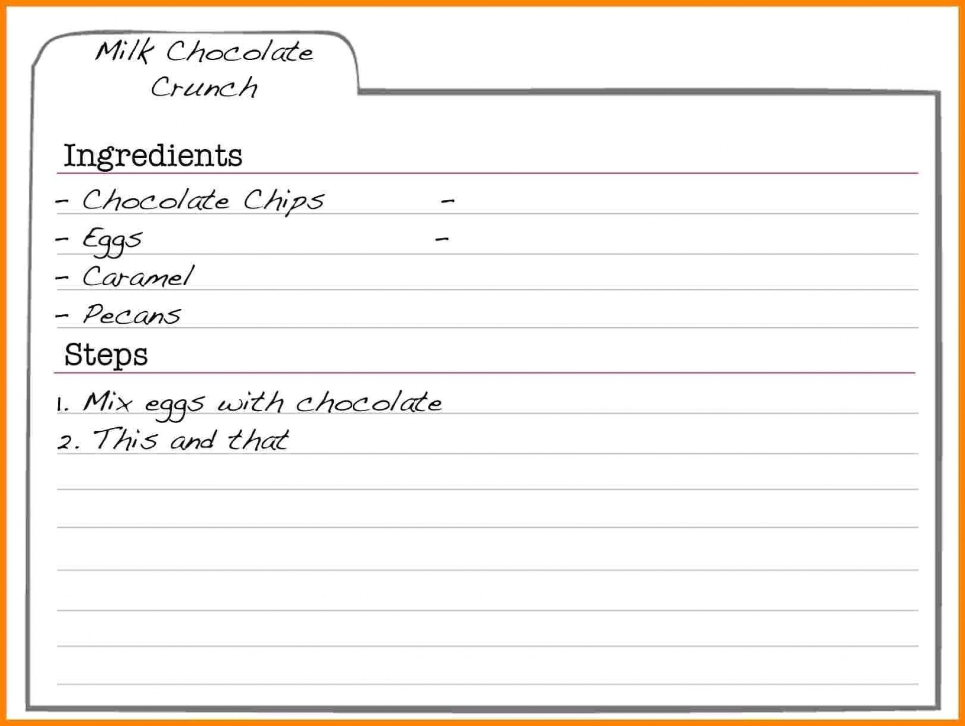 000 Striking Fillable Recipe Card Template High Definition  For Word Free1920