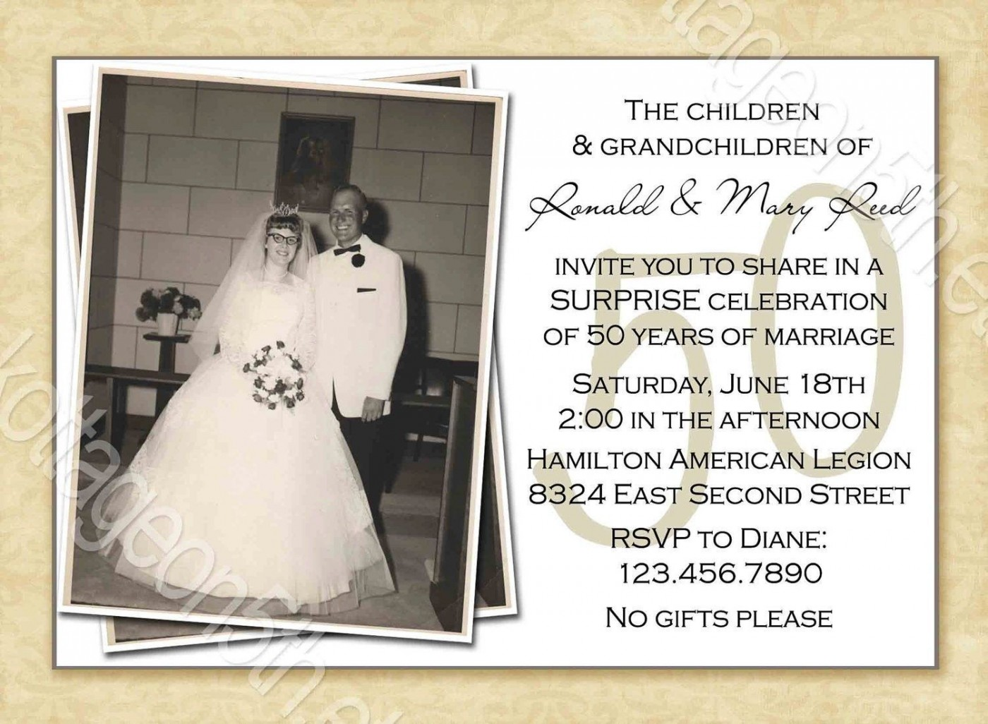 000 Striking Free Printable 50th Wedding Anniversary Invitation Template Example 1400
