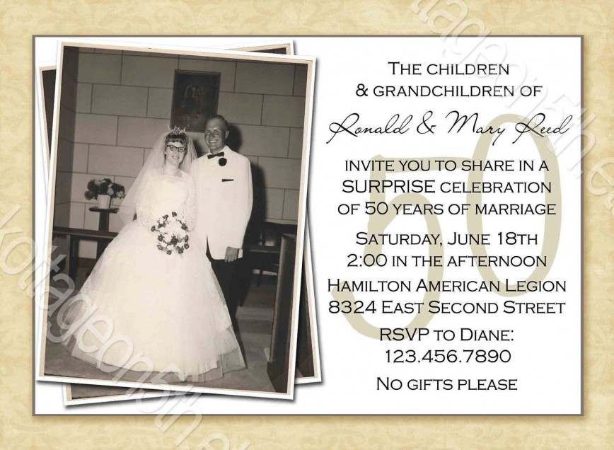 000 Striking Free Printable 50th Wedding Anniversary Invitation Template Example 868