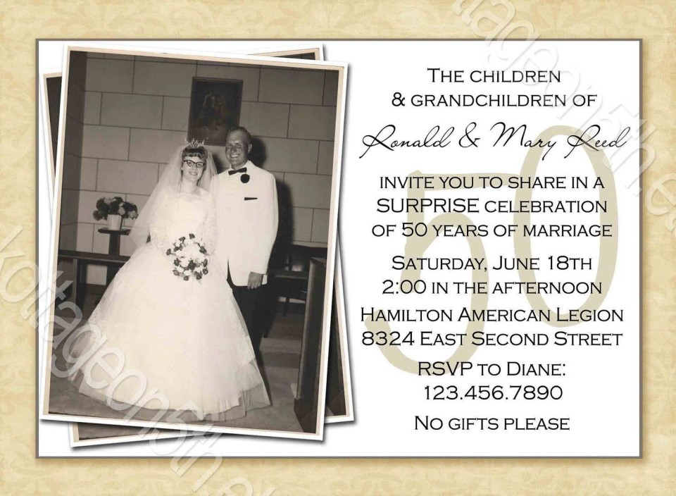 000 Striking Free Printable 50th Wedding Anniversary Invitation Template Example 960