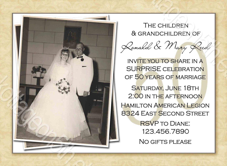 000 Striking Free Printable 50th Wedding Anniversary Invitation Template Example Full
