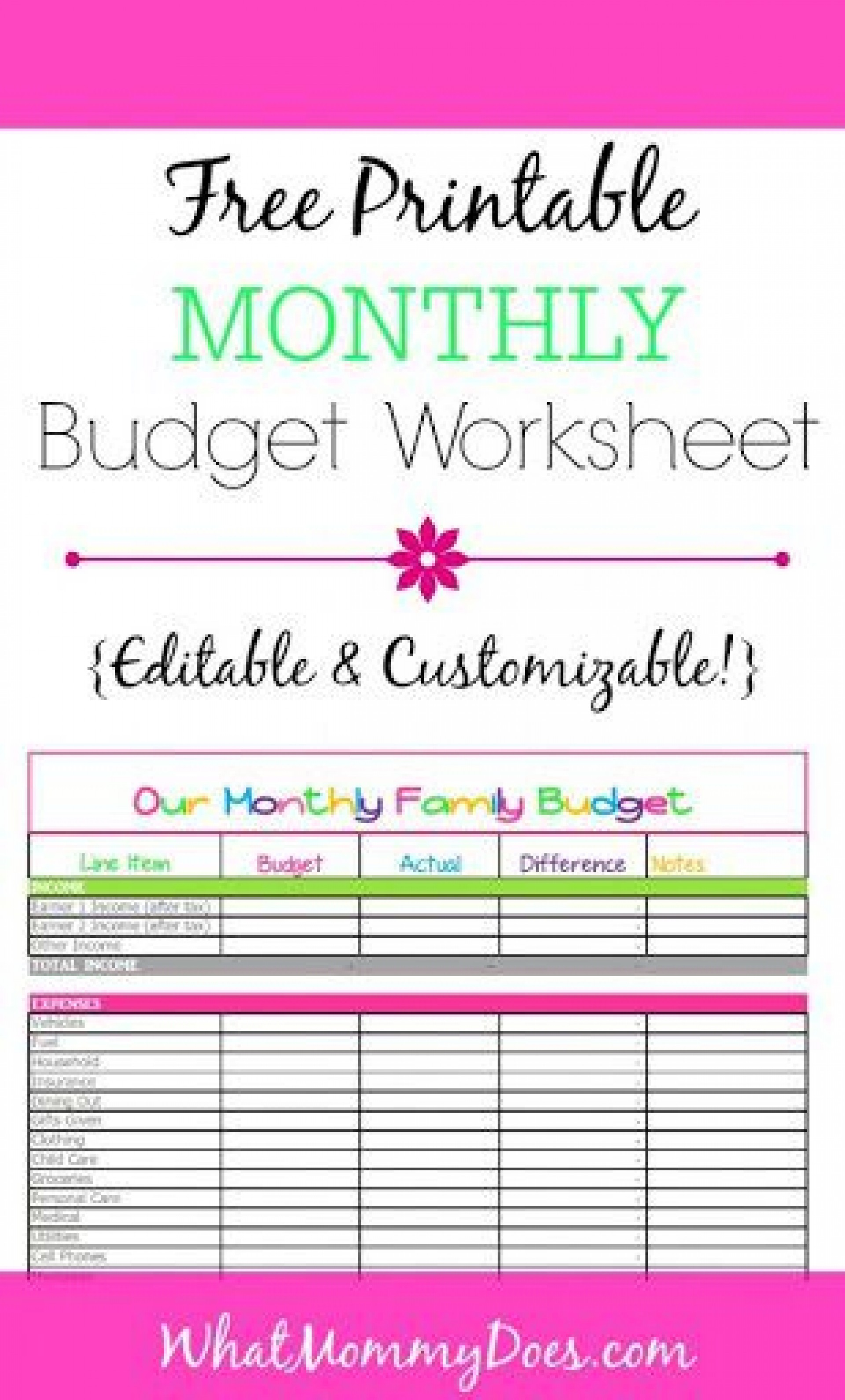 000 Striking Free Printable Monthly Budget Form Sample  Simple Template Blank Household Sheet1920