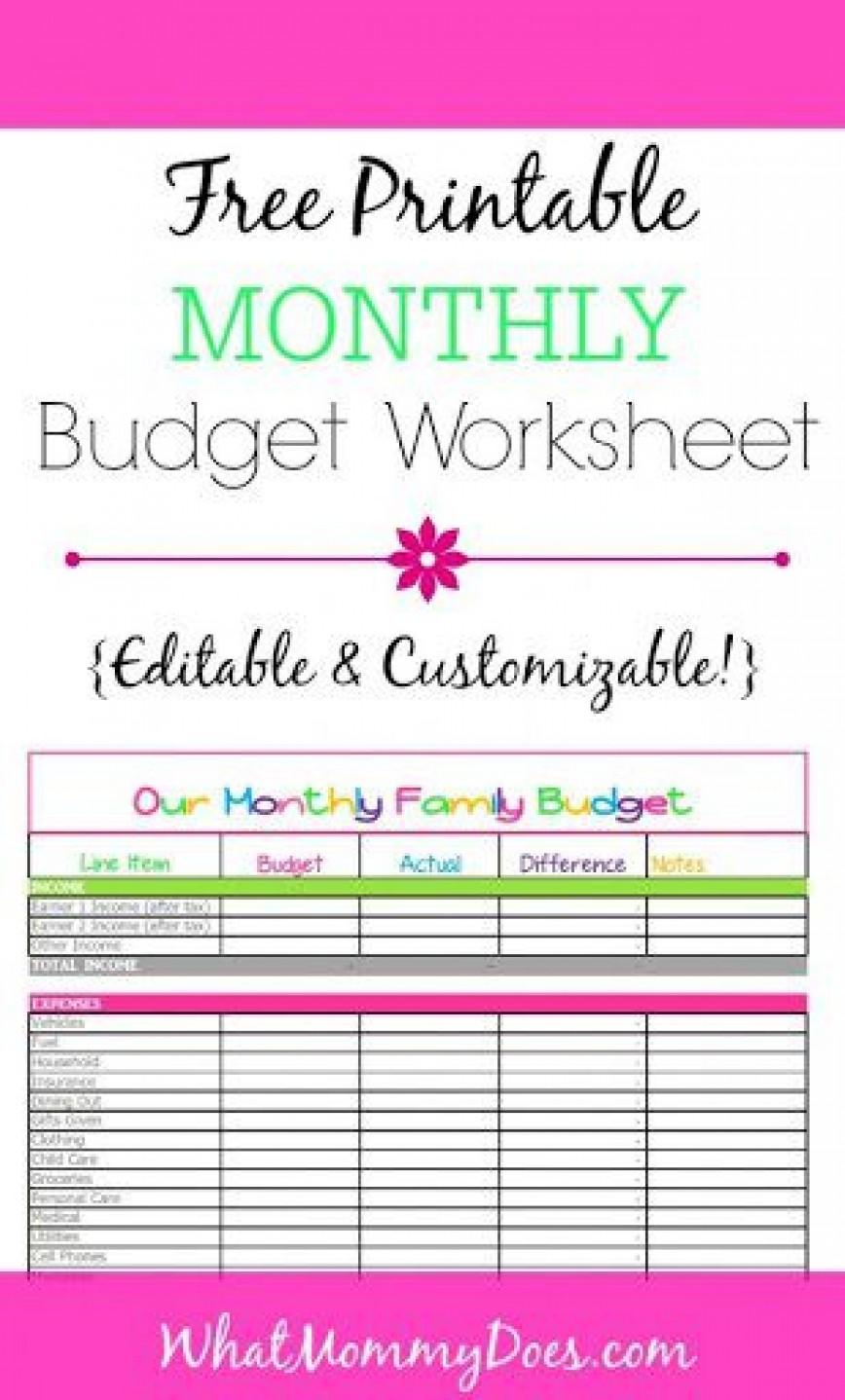 000 Striking Free Printable Monthly Budget Form Sample  Blank Sheet Household Template Downloadable Worksheet