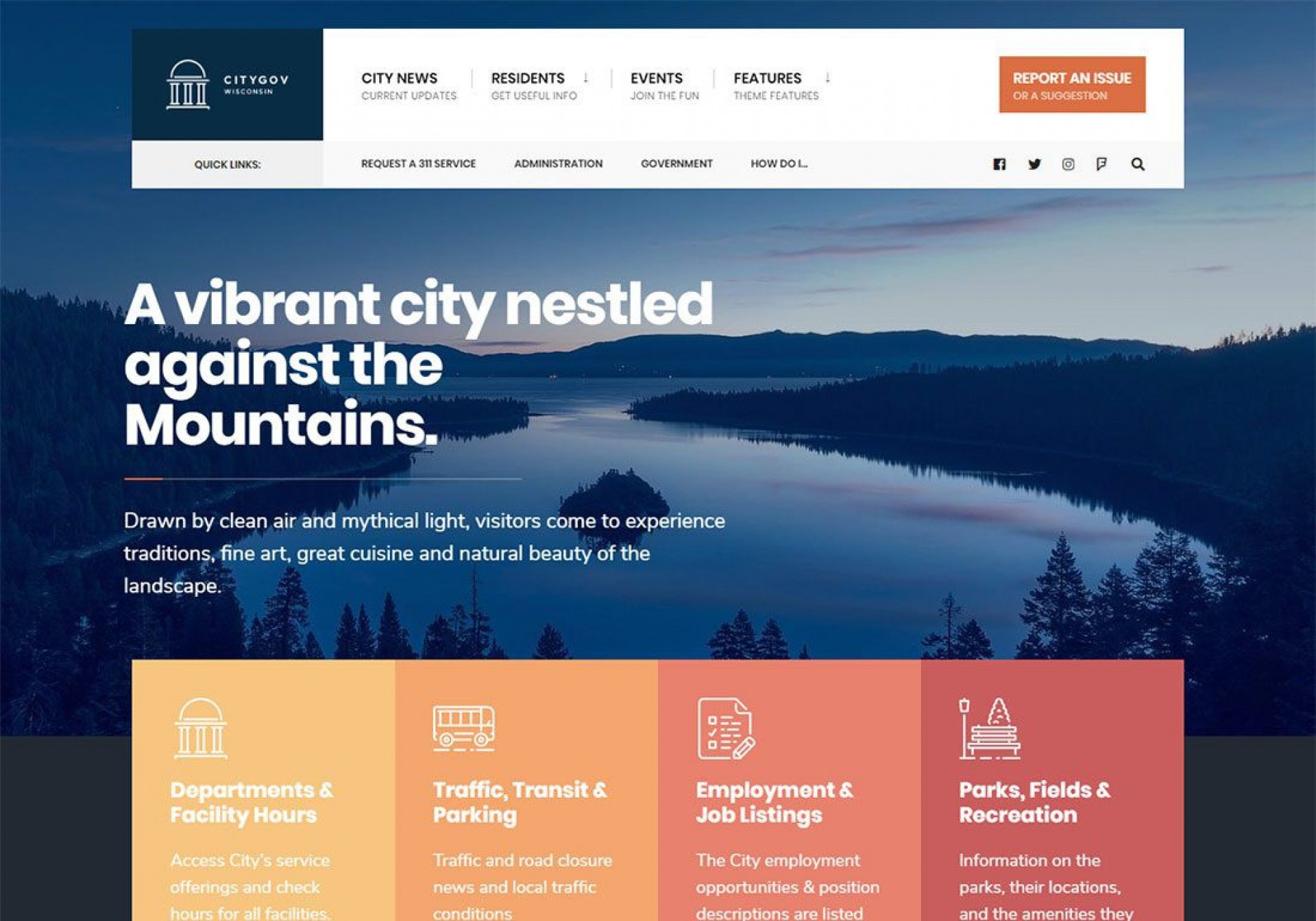 000 Striking Government Website Html Template Free Download High Definition  With Cs1920