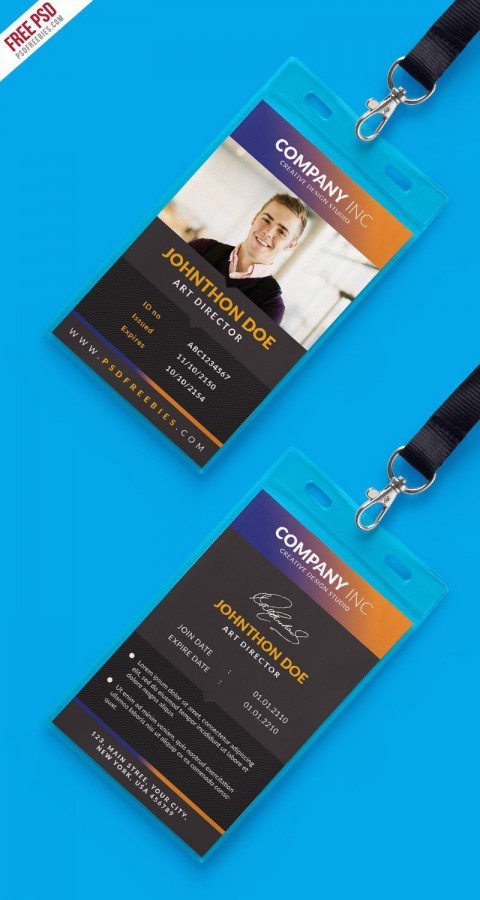 000 Striking Id Badge Template Photoshop Sample  Employee480
