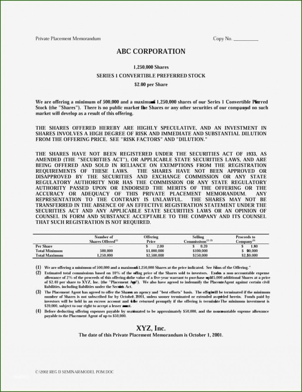 000 Striking Private Placement Memorandum Example High Definition  Examples Offering Sample TemplateLarge