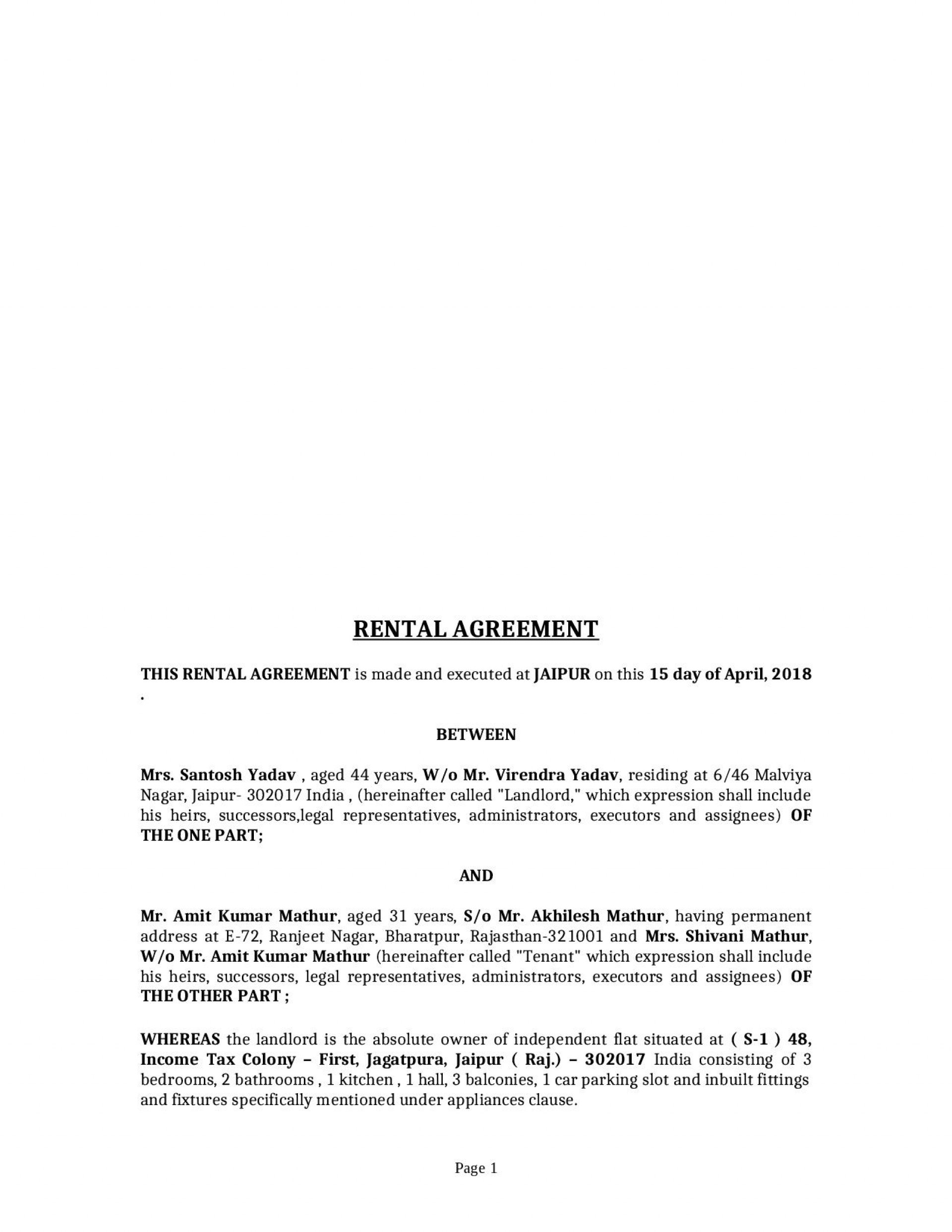 000 Striking Rent Lease Agreement Format India Highest Quality  Rental Indiafiling Hyderabad1920