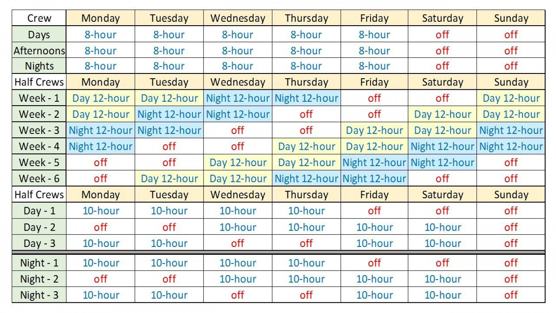 000 Striking Rotating Work Schedule Example Inspiration  Examples Shift1920