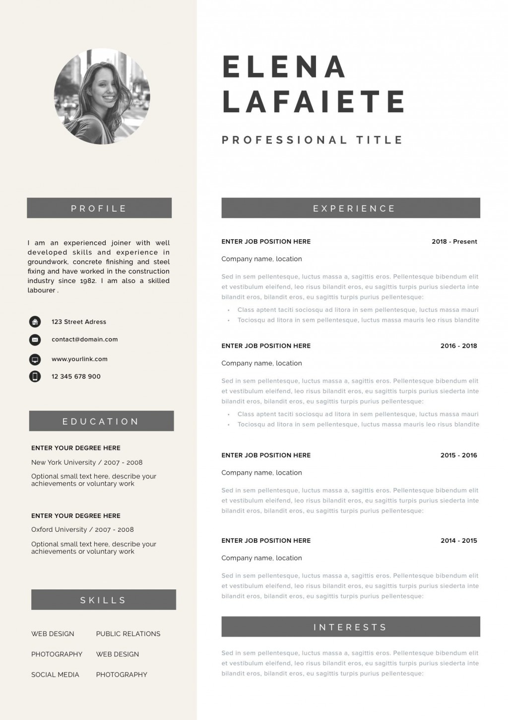 000 Striking Teacher Resume Template Free Highest Quality  Cv Word Download Editable Format DocLarge