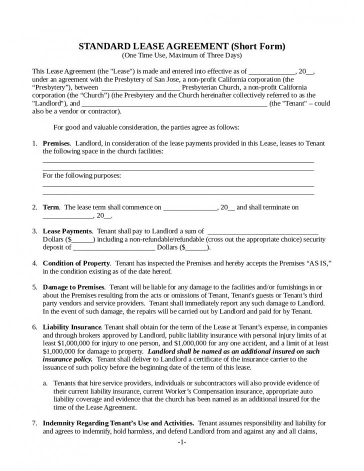 000 Striking Template For Property Rental Agreement Sample  Commercial728