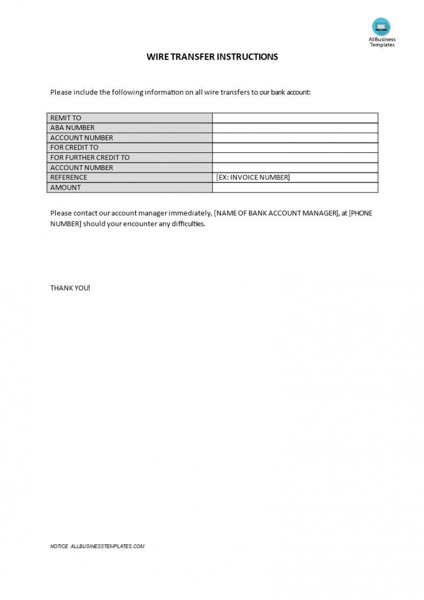 000 Striking Wire Transfer Instruction Template Highest Clarity  Chase Form