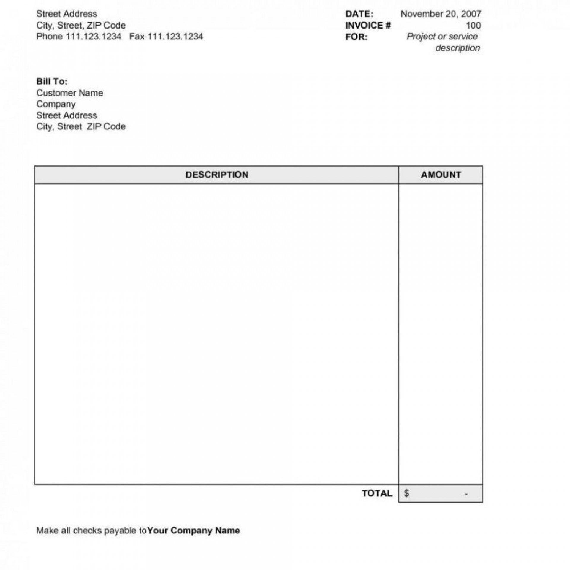 000 Striking Word Invoice Template Free Picture  M Download1920