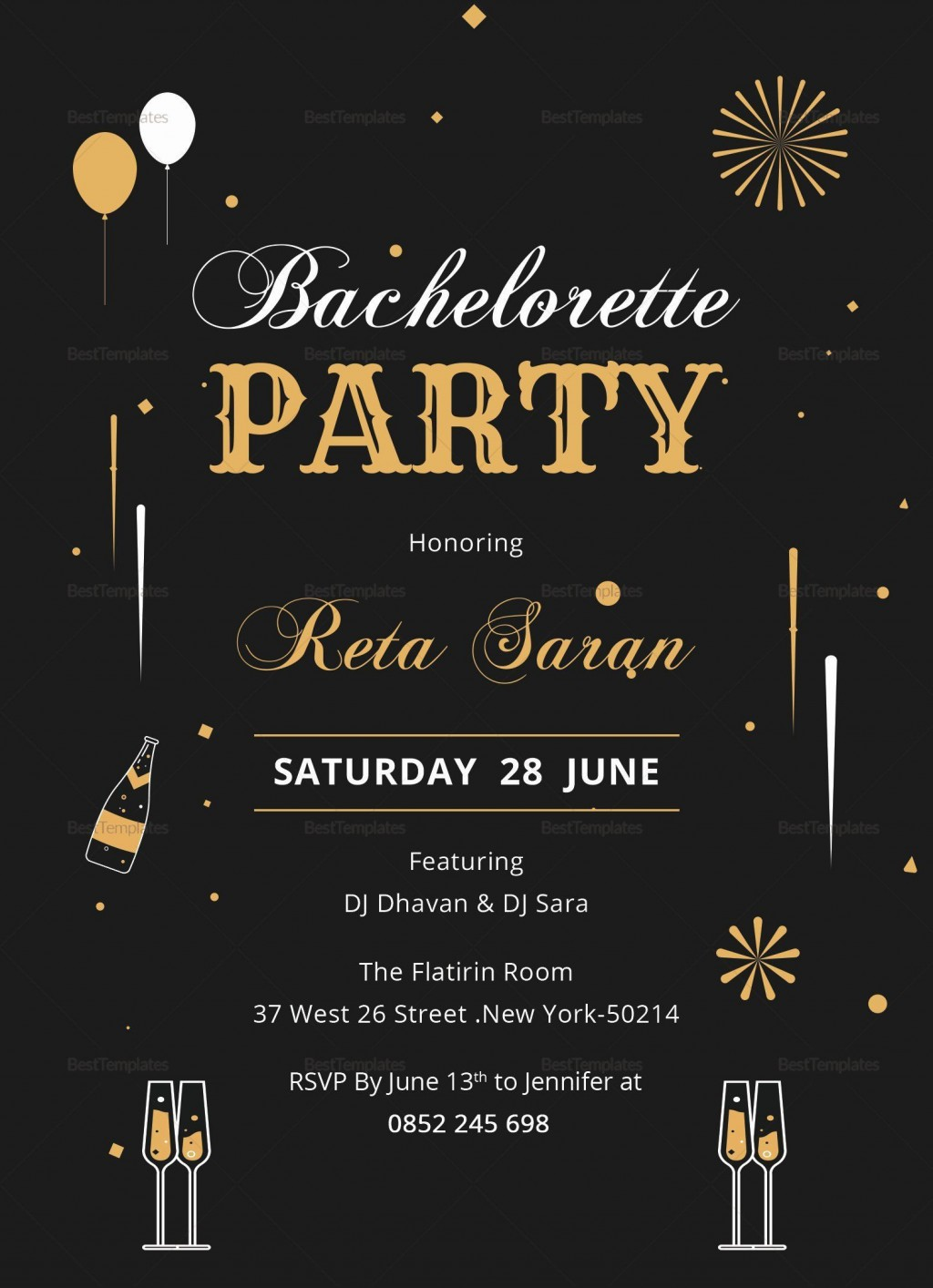 000 Stunning Bachelorette Party Invitation Template Word Free Photo Large