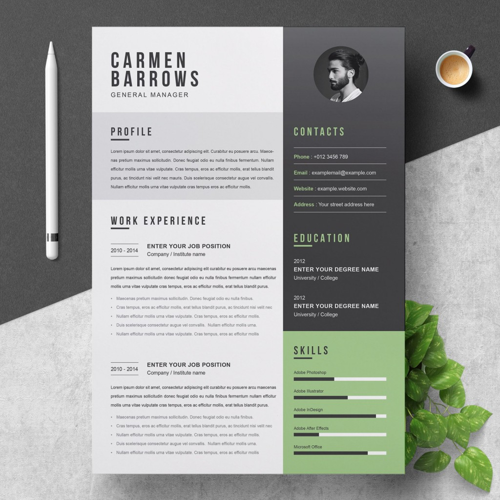 000 Stunning Creative Resume Template Free Microsoft Word Idea  Download For FresherLarge