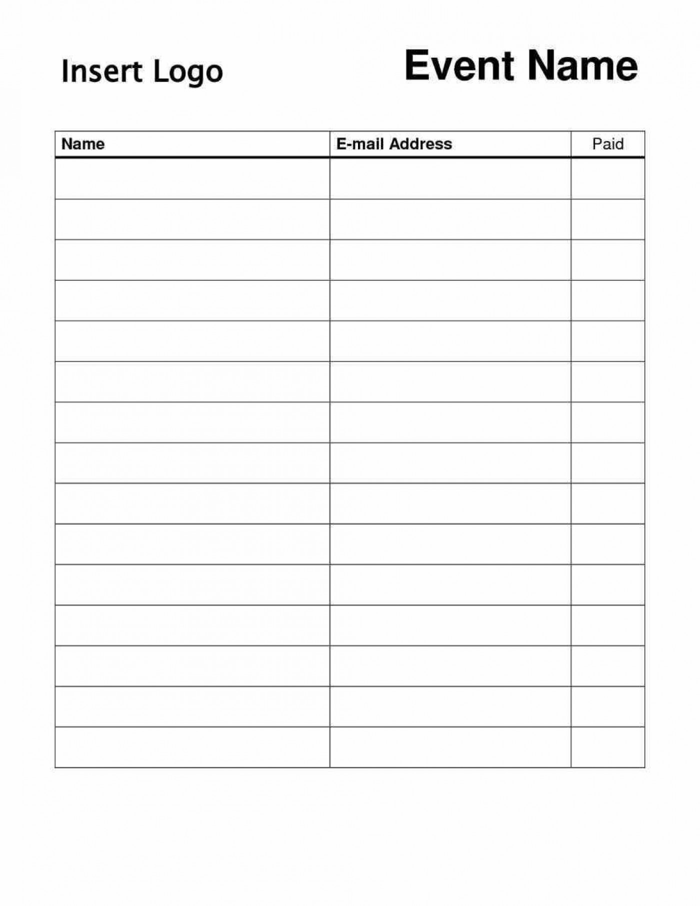 000 Stunning Event Sign Up Sheet Template Sample  In Google Doc Free1400