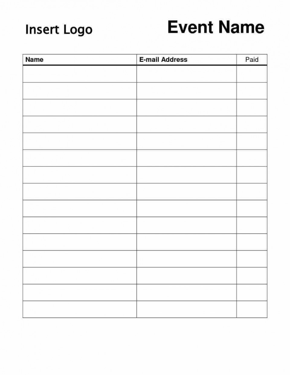 000 Stunning Event Sign Up Sheet Template Sample  In Google Doc Free960
